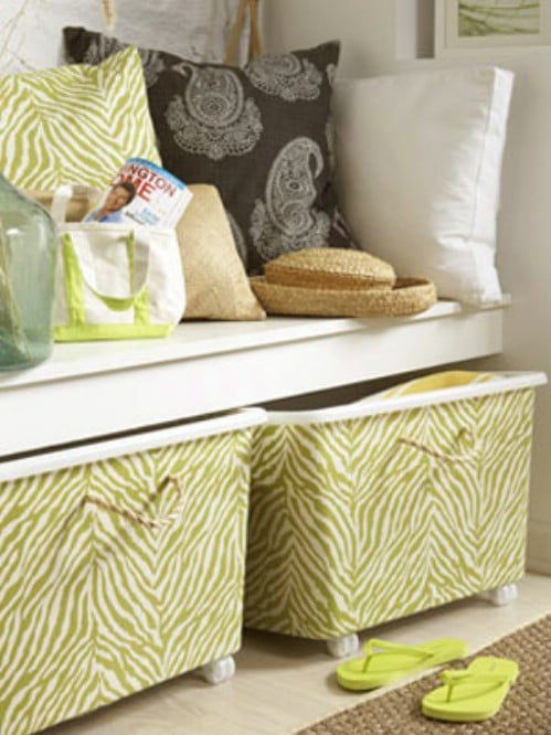 Here is another way you can transform your plastic bins using fabric.