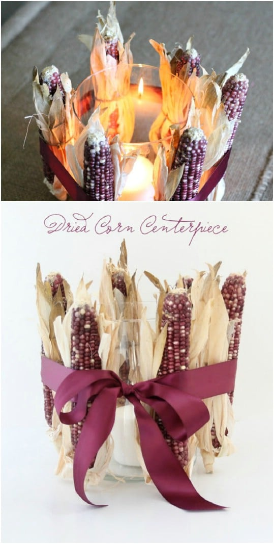 Easy And Cheap Dried Corn Candle Holder