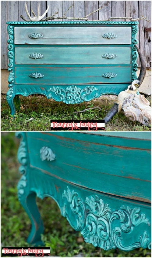 "Paint an ombre teal dresser with a ""highlighted"" look."