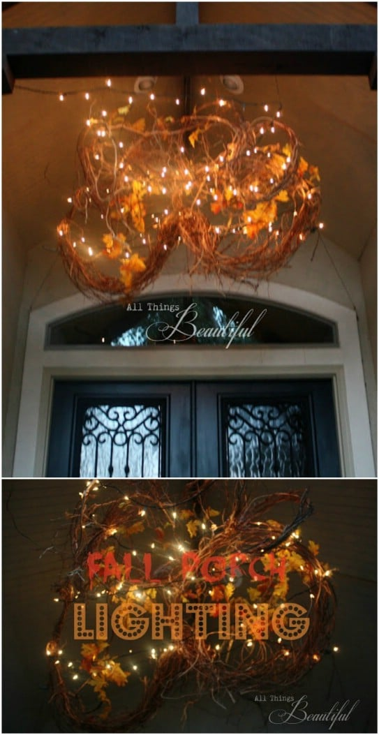 DIY Fall Front Porch Lighting