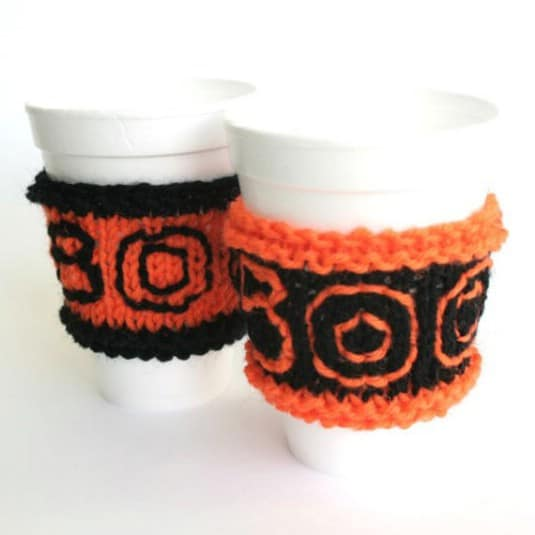 Easy To Knit Halloween Cup Sleeves