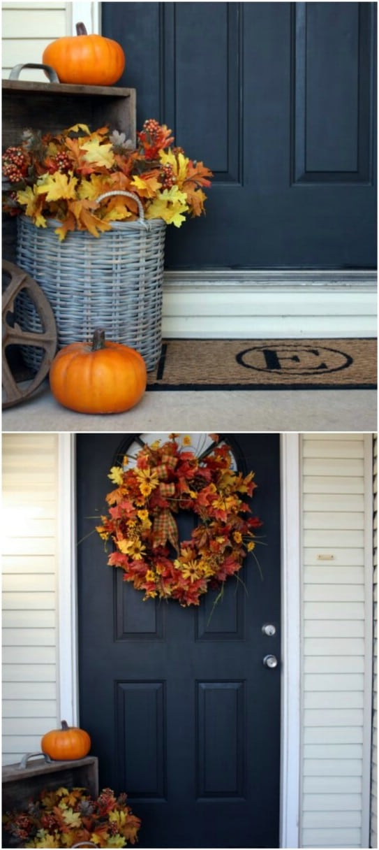 Quick And Easy Front Door Leaf Decoration