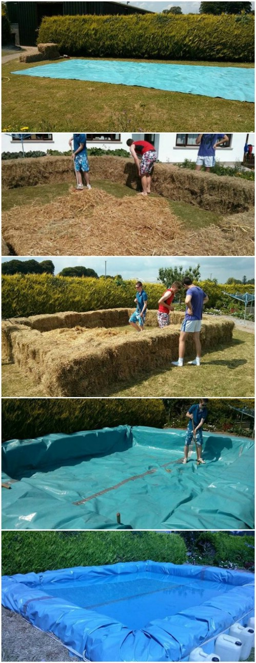 Build the Pool Out of Hay Bales