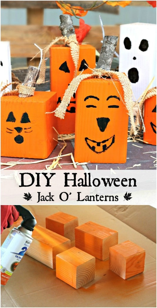 Upcycled Wood Block Jack-O-Lanterns - 25 Fantastic Reclaimed Wood Halloween Decorations For Your Home And Garden