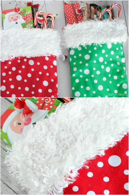 easy 10 minute diy stocking - Homemade Christmas Stockings