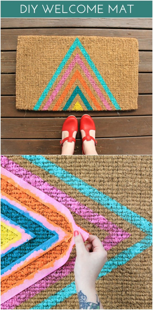 Colorful Geometric Pattern Welcome Mat