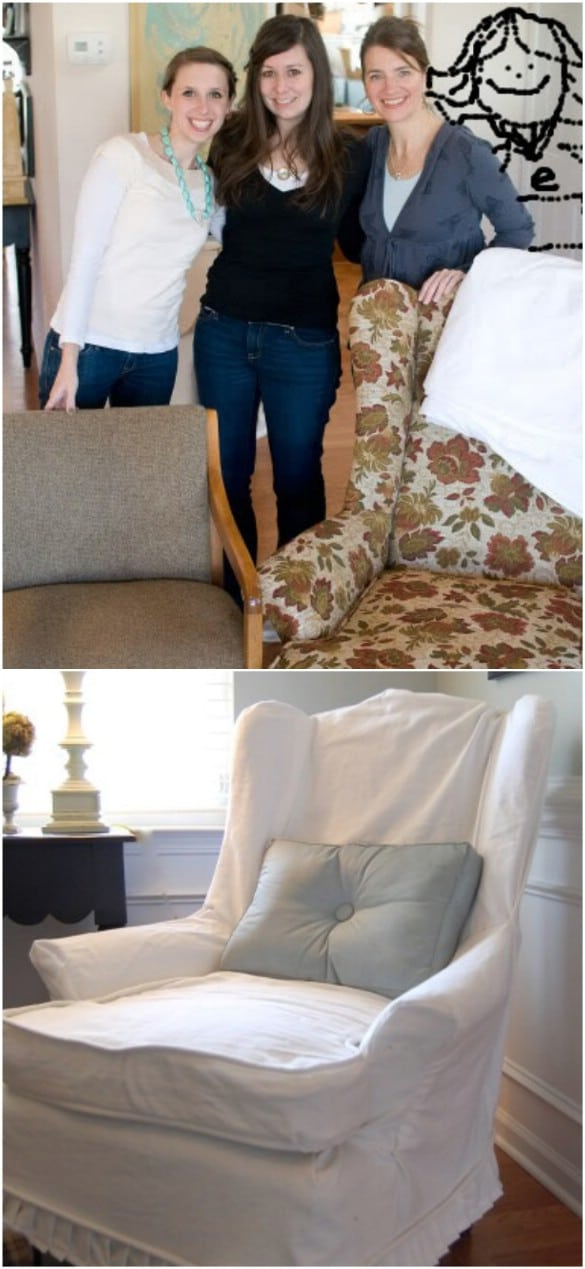 Easy DIY Armchair Slipcovers