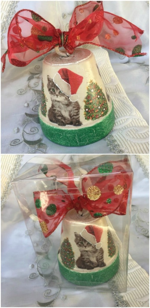 Decoupage Clay Pot Christmas Ornament