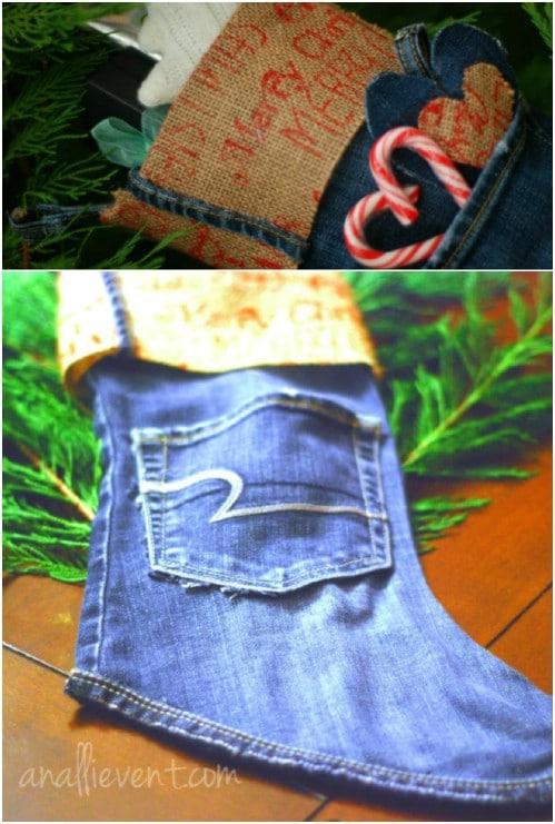 Easy No Sew Denim Stockings