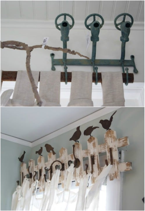 Upcycled Coat Rack/Fence Curtain Rod
