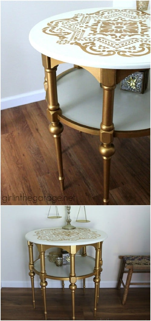 DIY Gold And White Stenciled Table
