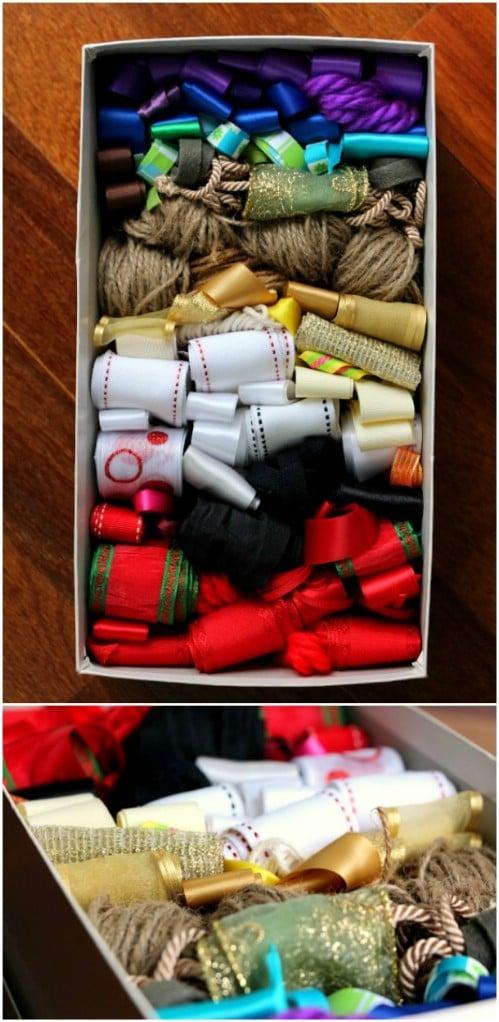 Loose Christmas Ribbon Storage