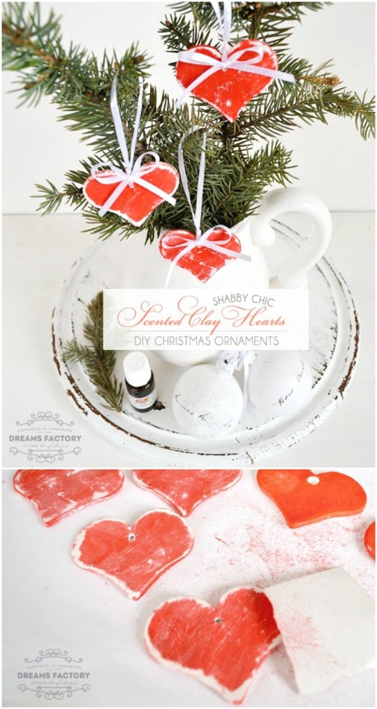 Scented Clay Heart Christmas Ornaments