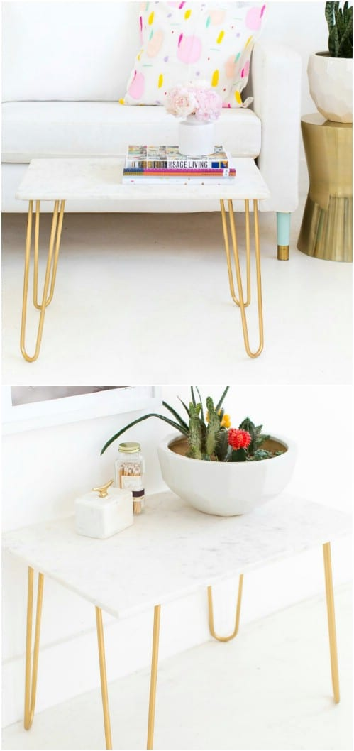 DIY Gold And Marble Accent Table