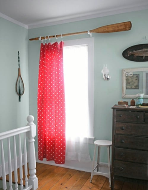 DIY Upcycled Oar Curtain Rods