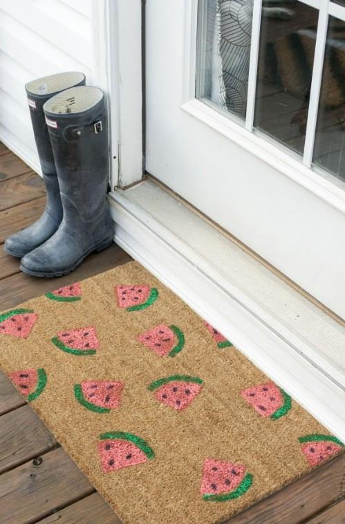 DIY Stamped Watermelon Door Mat
