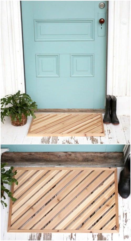 DIY Wooden Plank Door Mat