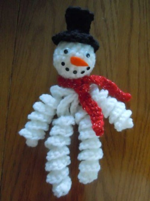 Curly Snowman Crochet Ornament