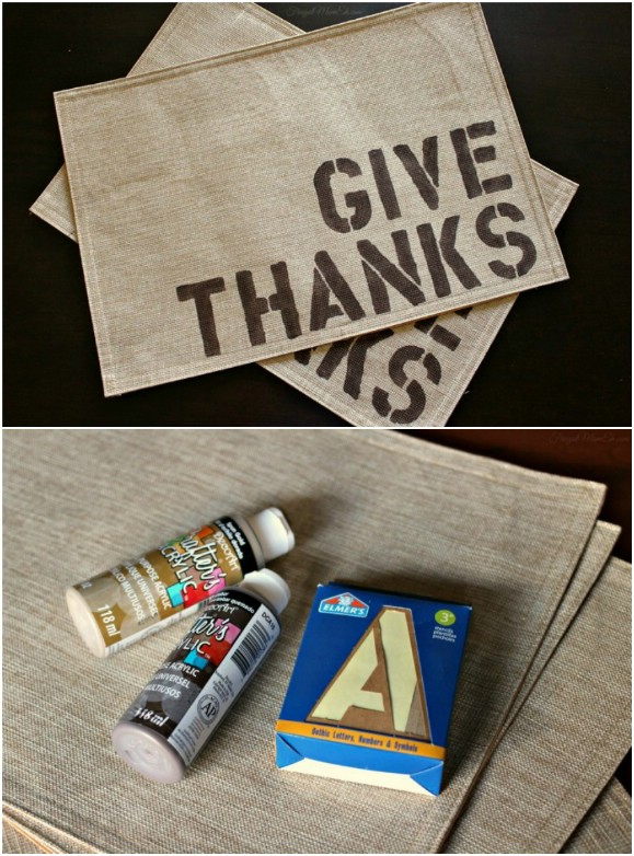 Give Thanks Burlap Placemats