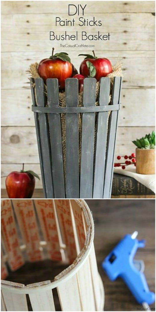 DIY Paint Stick Bushel Basket
