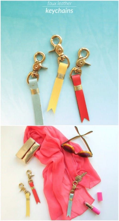 DIY Faux Leather Keychain