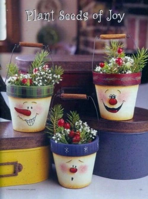 DIY Rustic Snowman Bucket Ornaments