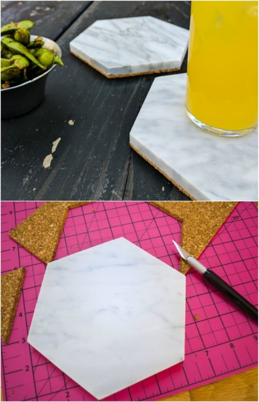 DIY Hexagon Tile Coasters