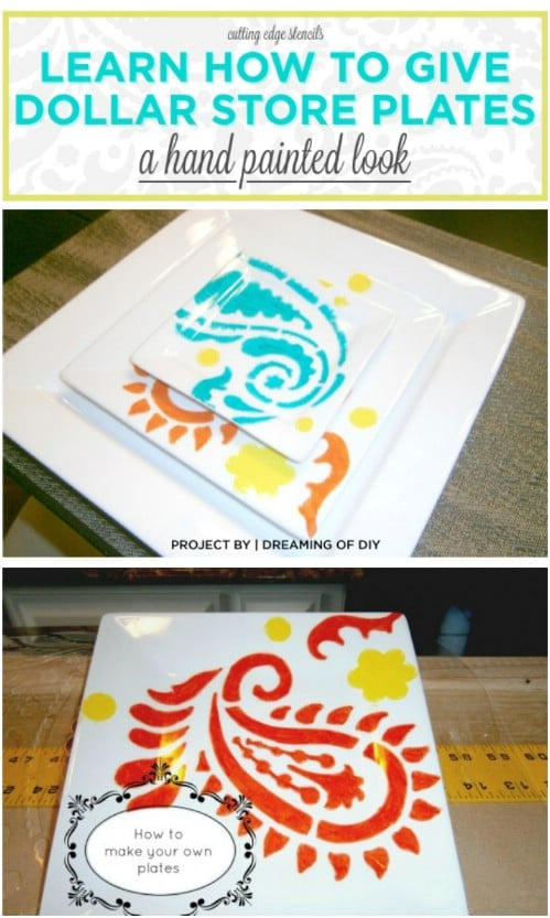 Cheap Stenciled Dollar Store Plates