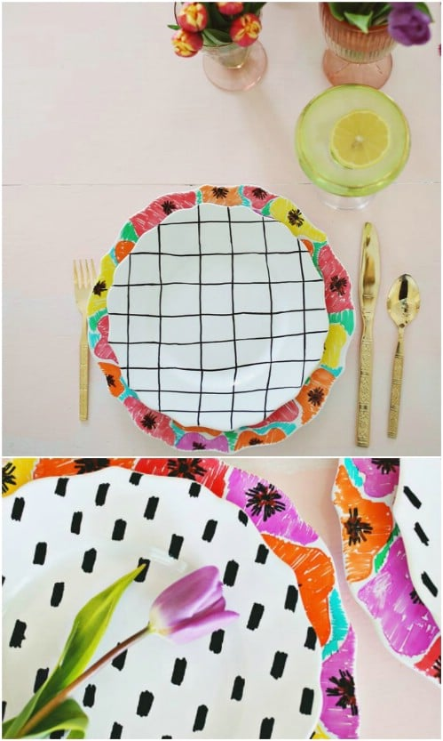 Anthropologie Inspired Hand Painted Plate Set