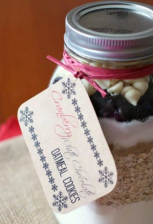 White Chocolate And Cranberry Cookies In A Jar