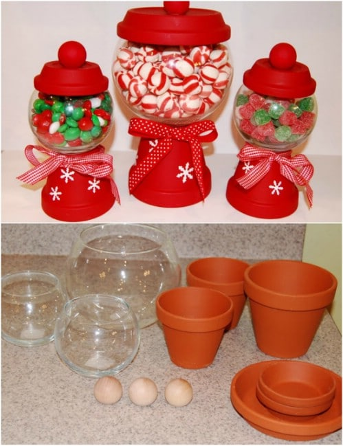 diy clay pot christmas candy jars