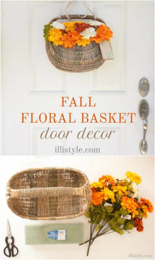 Easy DIY Floral Basket Door Décor