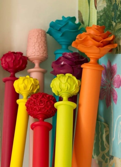 DIY Colorful Curtain Rods