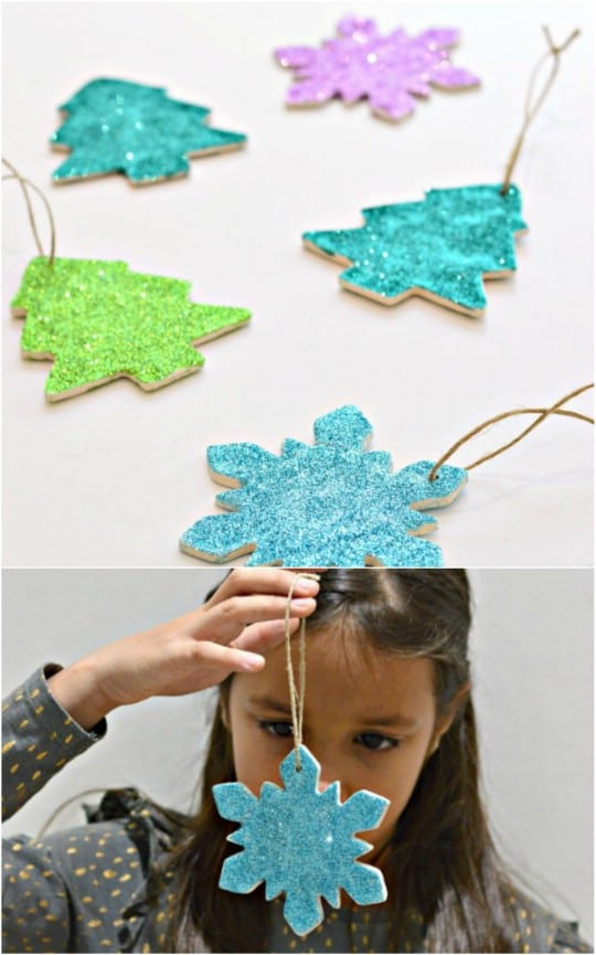 Homemade Clay Glitter Christmas Ornaments