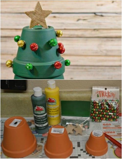 DIY Clay Pot Christmas Tree