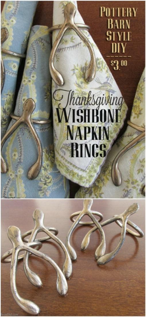 25 diy napkin rings that will dress up your thanksgiving dinner pottery barn inspired bronze wishbone napkin rings solutioingenieria Gallery