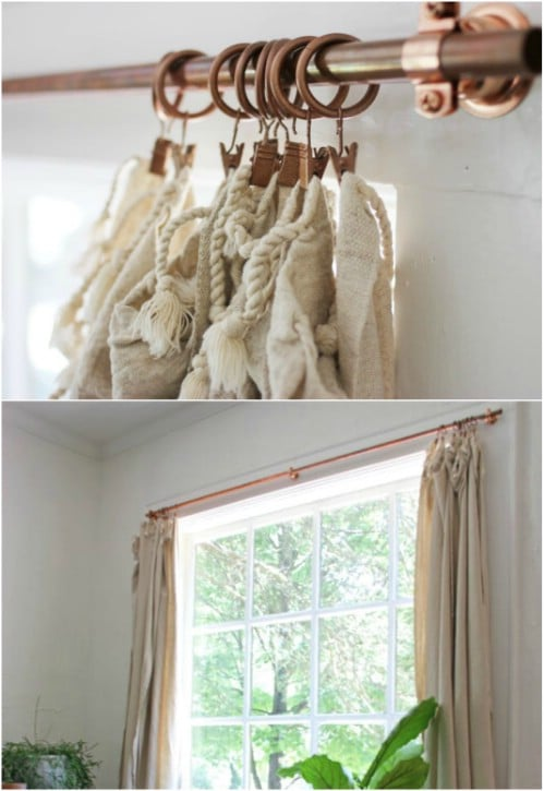 Easy DIY Copper Pipe Curtain Rods
