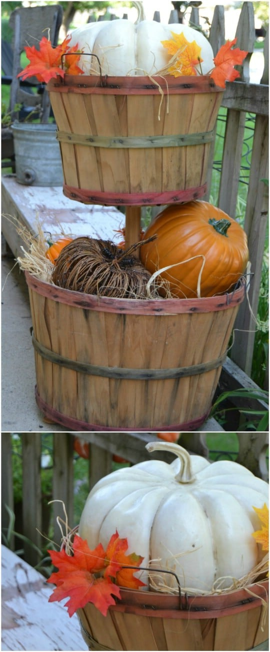 DIY Tiered Bushel Basket Décor