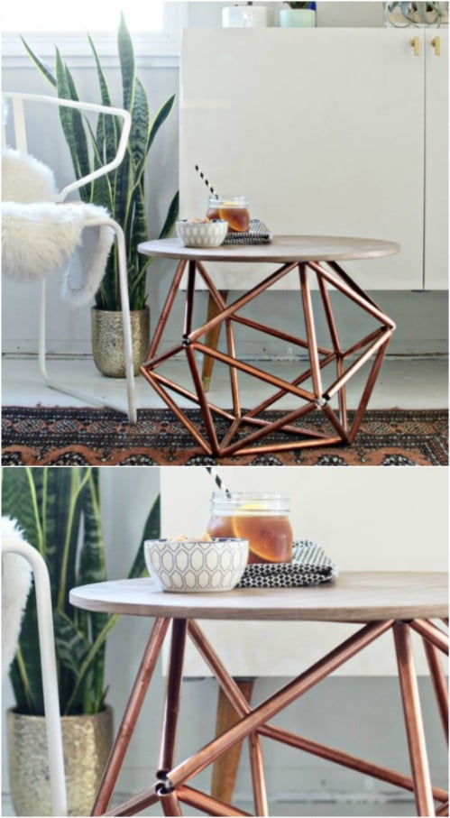Geometric Copper Accent Table