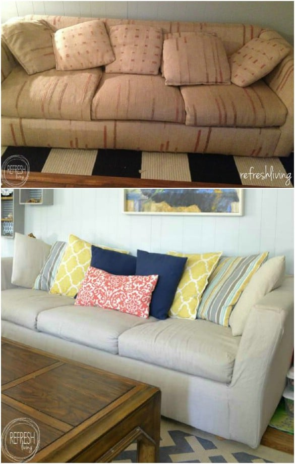 Easy DIY Drop Cloth Slipcover