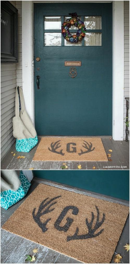 Easy DIY Stenciled Door Mat