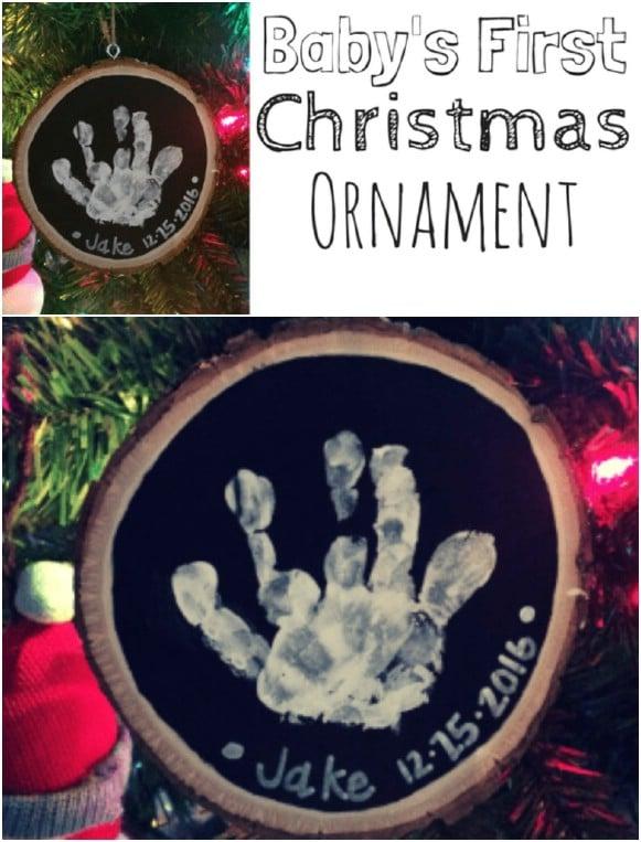 DIY Wood Circle Handprint Ornament