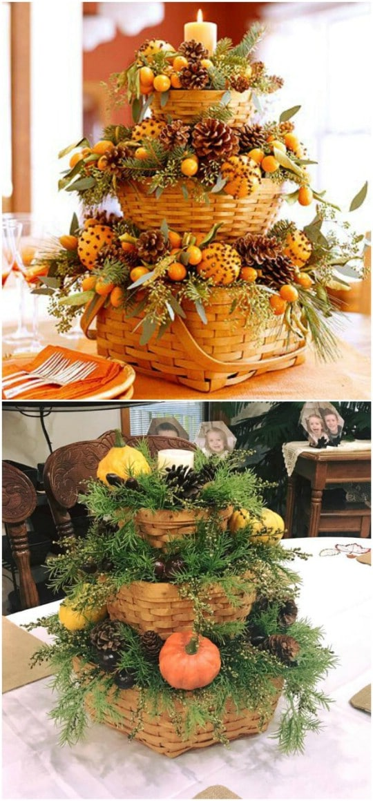 Fall Basket Tiered Centerpiece
