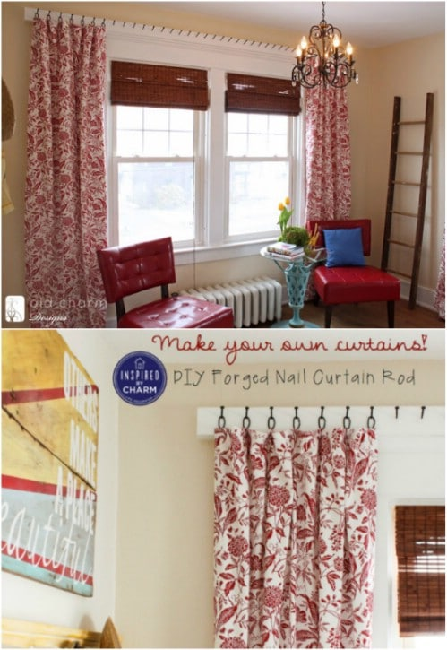 DIY Forged Nail Curtain Rod