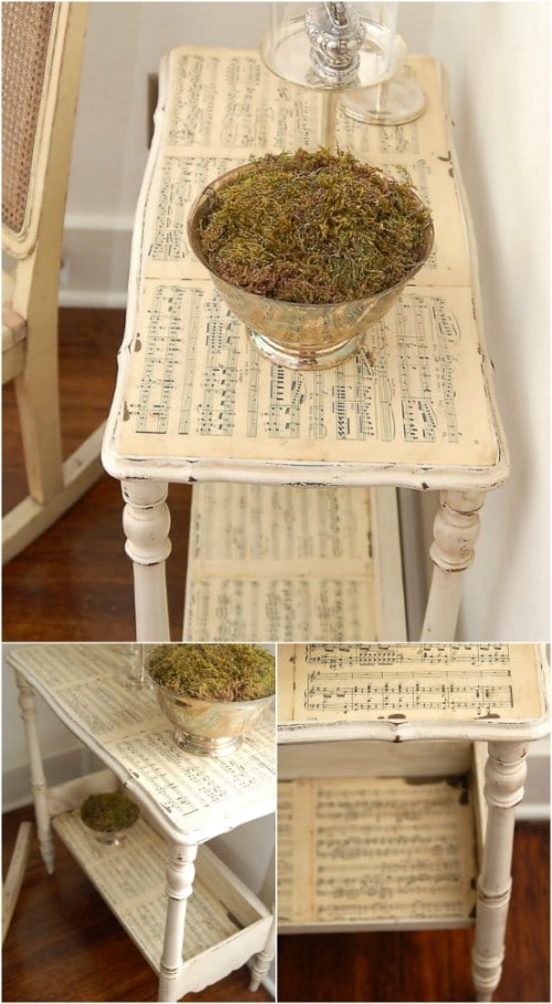 Lovely DIY Sheet Music Accent Table