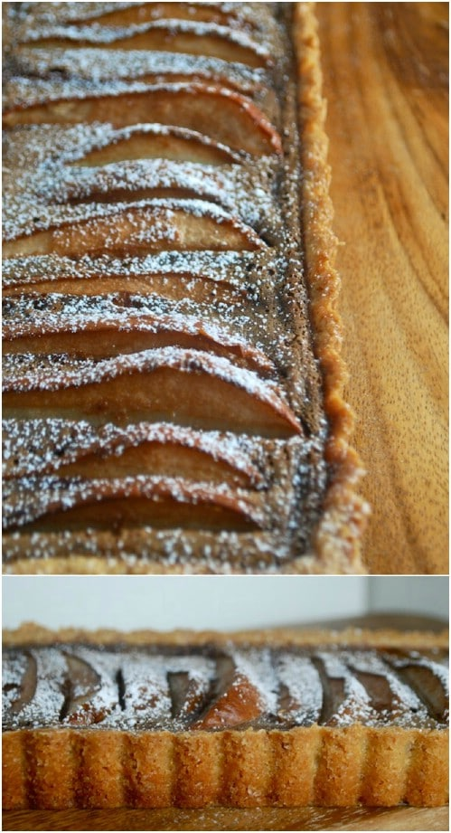 Chocolate Pear Custard Tart