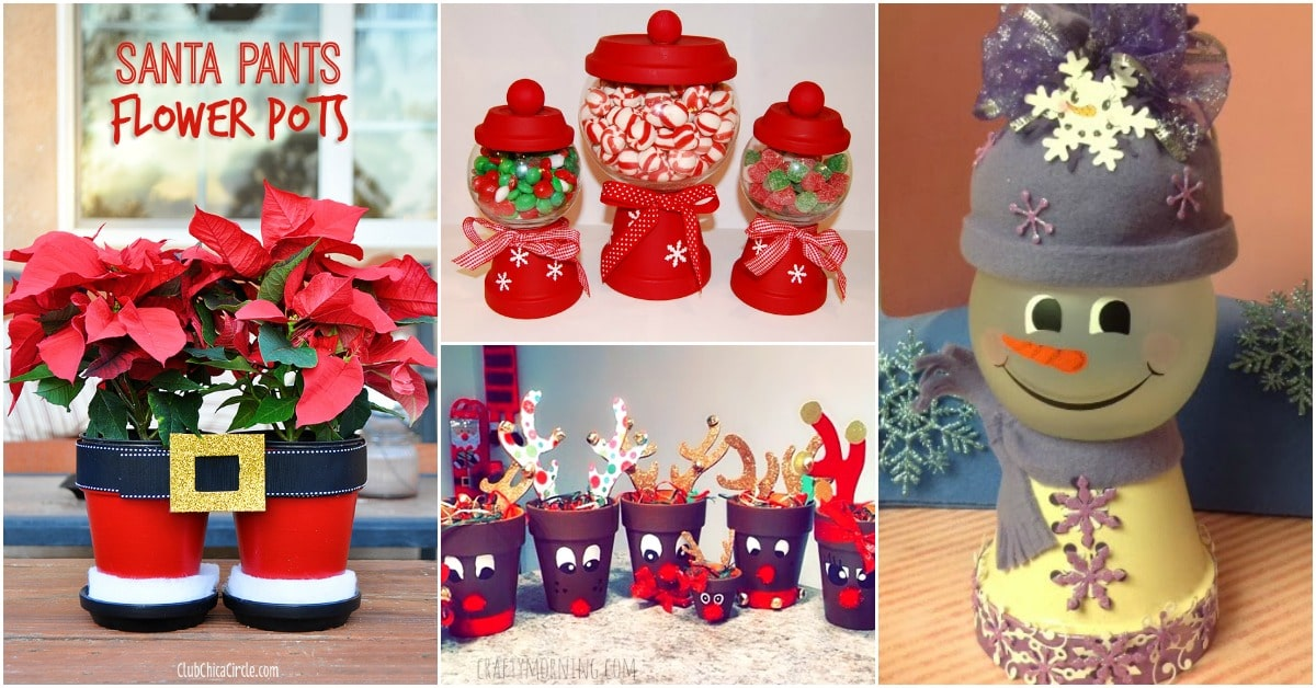 20 diy clay pot christmas decorations that add charm to for Art and craft pot decoration
