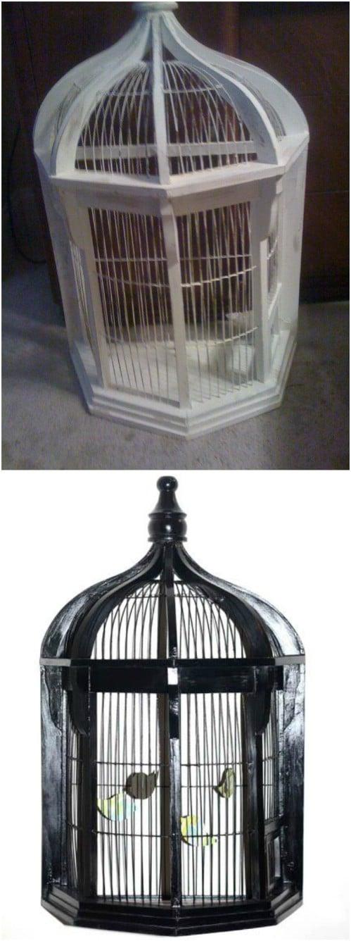 Thrift Store Bird Cage Makeover