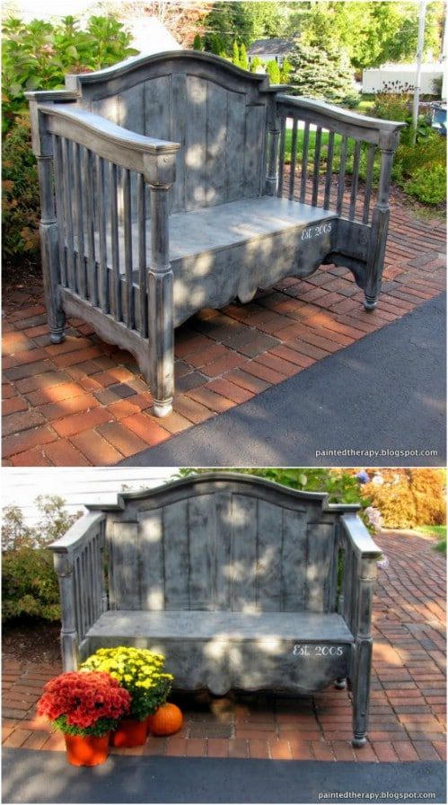 Repurposed Baby Crib Bench