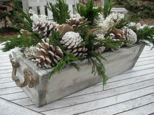 Rustic Snowy Pinecone Flower Box